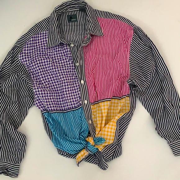 Vintage Lizwear multi-print button down blouse M